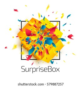 Surprise box with confetti explosion isolated on white background. Surprise icon concept. Open yellow package. Top view. Abstract vector illustration