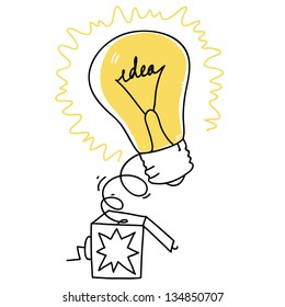 surprise box with idea bulb symbol. cartoon illustration