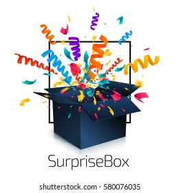 Surprise box isolated on white background with confetti explosion. An open empty black box. Gift box icon concept. Vector illustration