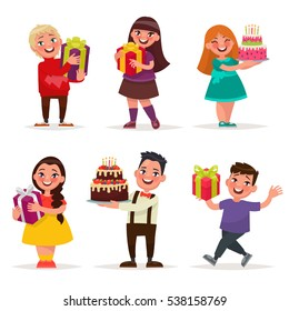 Surprise for children. Boys and girls with gifts and birthday cakes. A set of characters on a white background. Vector illustration in cartoon style