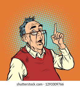 surprise elderly man with glasses attention gesture index finger up. Pop art retro vector illustration vintage kitsch