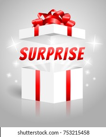 Surprise gift box white red