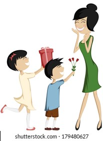 Surprise Mom! Colorful and detailed cartoon-style art with a black-haired daughter and son giving a gift box and a bouquet of roses to their green dressed mother.