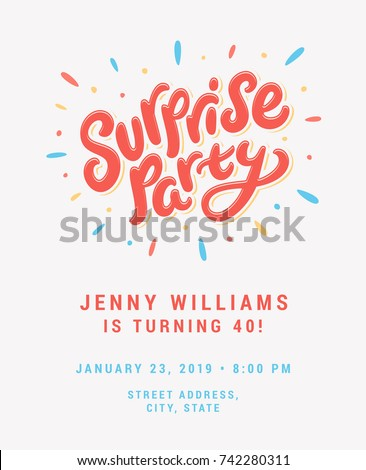 surprise party invitation template stock vector royalty free