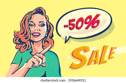 Surprise pop art girl pointing her finger at the speech bubble with up to 50% discount. Beautiful woman and sale banner. Sale inscription title font.