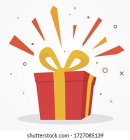 surprise red gift box, birthday celebration, special give away package, loyalty program reward, wonder gift with exclamation mark, vector icon, flat illustration