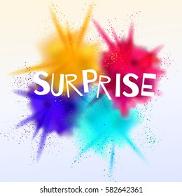 Surprise sign on a bright background with color explosion. Vector illustration.