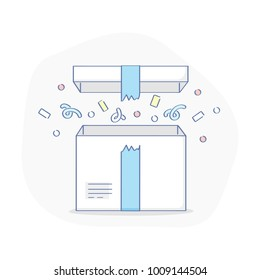 Surprise, wonder, gift, open present box with confetti. Symbol of something new: benefit, reward, bonus or a long-awaited delivery. Flat outline modern vector illustration.