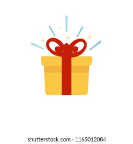 Surprise yellow box with red bow. Delight present. Flat design. Vector.