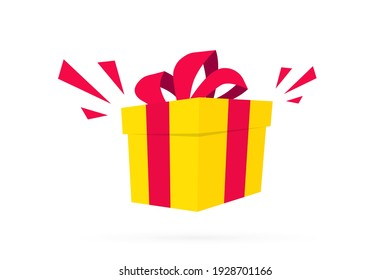 Surprise yellow gift box in flat design. Gift box. Present box. Surprise in the box. Template design for surprise, birthday celebration event, presents, birthday, Christmas