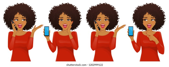 Surprised african american woman with phone and afro hairstyle vector illustration