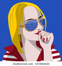 Surprised beautiful girl close-up in pop art style on a blue background. Vector illustration.