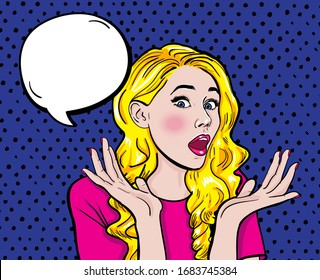 Surprised blonde girl with open mouth. Pop art retro comic book vector illustration.