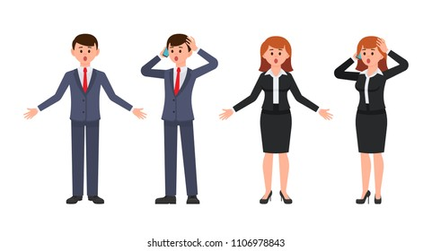 Surprised boy and girl office workers cartoon characters. Vector illustration of amazed business people
