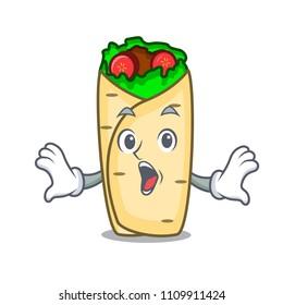 Surprised burrito mascot cartoon style