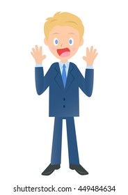 Surprised businessman, male company employee of illustration material