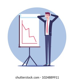 Surprised businessman standing clutching at the head near the falling graph on the board for presentations vector flat illustration. The business concept of recession and crisis.