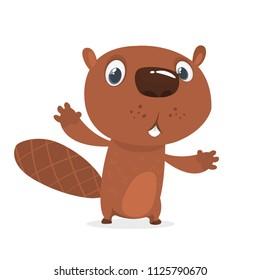Surprised cartoon beaver. Brown beaver character. Vector illustration clip art