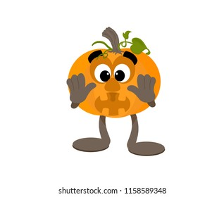 Surprised cartoon pumpkin mascot with wide eyes holding it's hands on it's cheeks.