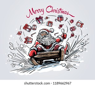 Surprised and cheerful Santa Claus, rides the mountain on a sleigh, losing on the way Christmas gifts and sweets.