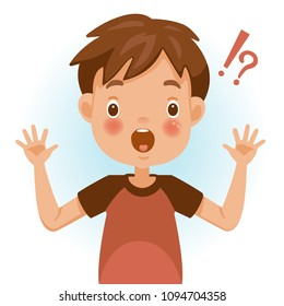 Surprised children. Boy mark shocked, question mark and exclamation. Acting and feeling of a person's face. Vector illustrations isolated on white background.