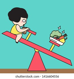Surprised Chubby Overweight Girl Drinking A Cup Of Bubble Milk Tea And A Healthier And Stronger Plate Of Vegetable On Balance Seesaw. Concept Of Weight Watcher Card Character illustration