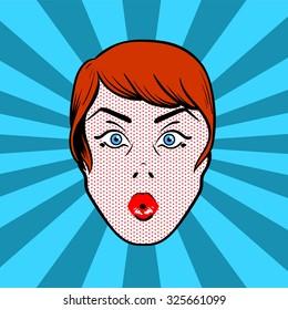 surprised comic pop art woman head