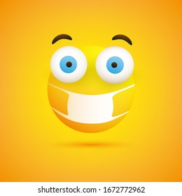 Surprised, Concerned Emoticon with Pop Out Eyes and Medical Mask on Yellow Background - Vector Design