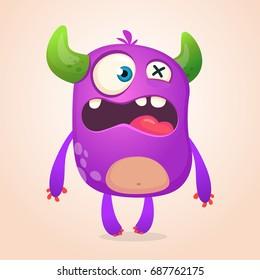 Surprised cute cartoon monster icon. Vector  monster mascot. Halloween design for emblem, logo or sticker