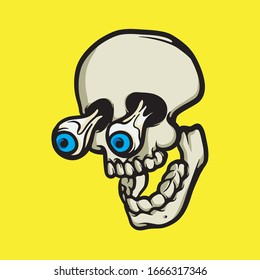 Surprised eyes skull illustration isolated on yellow background. Scared expression face vector