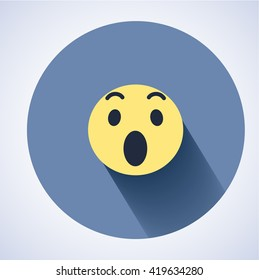 Surprised face icon. Flat round icon with shadow. Facebook new symbol