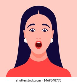 Surprised face. Portrait of a girl. Amazement. Avatar of a young woman. Vector flat Illustration