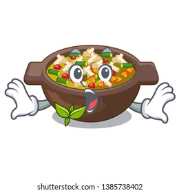 Surprised fried minestrone in the cup character