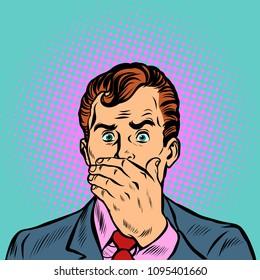 surprised frightened businessman. Pop art retro vector illustration cartoon comics kitsch drawing