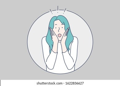 Surprised girl concept. Shocked, amazed, astonished young woman with blue hair, putting hands on her cheeks and opened mouth, face expression, emotions, wondering. Simple flat vector