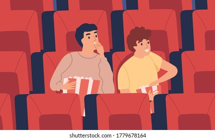 Surprised, interested young man, boys at movie theater eating popcorn in empty cinema hall. Teenager friends, two excited boys watching film, sitting in armchair. Flat vector cartoon illustration