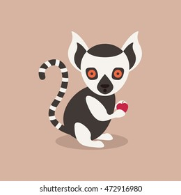 a surprised lemur caught holding an apple vector