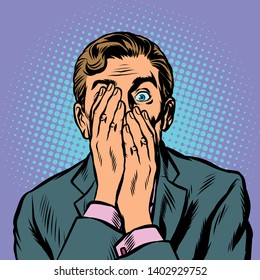 surprised man businessman covered his face with his hands. Pop art retro vector illustration vintage kitsch
