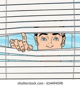 Surprised Man Looking Through the Blinds. Pop Art Vector retro illustration