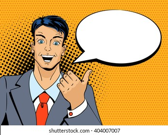 Surprised man pointing finger with speech bubble in pop art retro style. Vintage vector character. Pop art vector background.