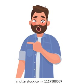 Surprised man points to something. Element for an incredible and shocking news or suggestion. Vector illustration in cartoon style