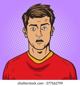 Surprised man pop art retro style vector illustration. Comic book style imitation. Vintage retro style.