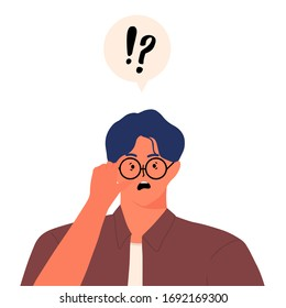 Surprised man staring at camera through glasses. surprising news concept and Speech bubble above question marks and exclamation marks cartoon style flat vector design human character illustration