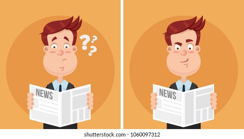 Surprised and perplexed expression face man businessman manager office worker character reading newspaper text article. Daily news tabloid concept. Facal emotions. Vector flat cartoon isolated
