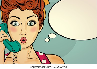 Surprised pop art woman chatting on retro phone . Comic woman with speech bubble. Pin up girl. Vector illustration.