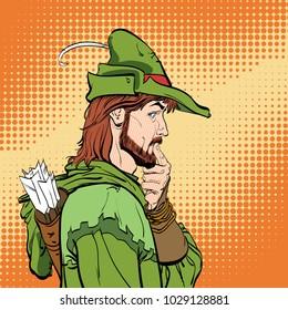 Surprised Robin Hood. Robin Hood. Defender of weak. Medieval legends. Heroes of medieval legends. Halftone background. Surprised man.