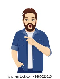 Surprised shocked big man expression in casual clothes points to something isolated vector illustration