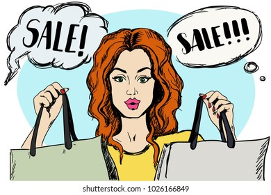 Surprised shopping woman with bags in a pop art style. Sale. Vector illustration isolated on a blue background.