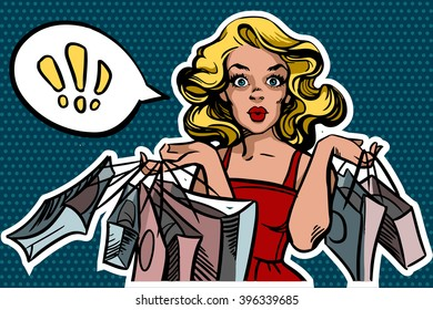 Surprised shopping woman with bags in a pop art style. Speech bubble for your text. Vector illustration isolated on a blue dotted background.