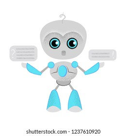 Surprised talking robot and speech bubbles. Chatbot, dialog, online lesson. Can be used for topics like education, communication, customer support